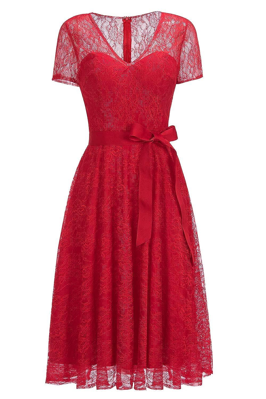 MisShow Robe Femme Courte Dentelle Manche Courte Style Vintage /à Fleurs Ajour/ée avec Ceinture 32-56