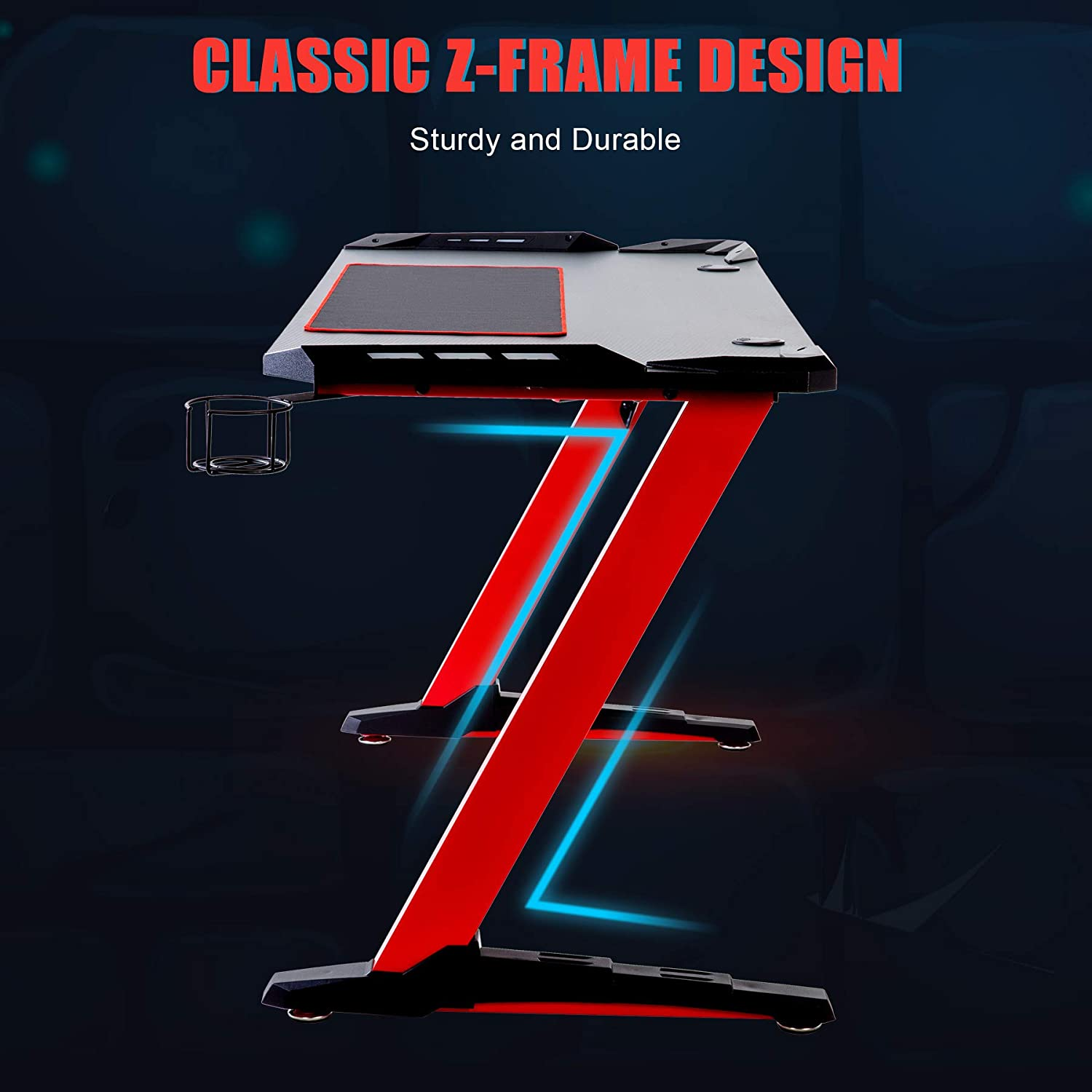 Computer Desk for Home Office Z Shaped Ergonomic Gaming Table w 6-Colour RGB Lighting CO-Z 140cm 55Inch Gaming Desk Cup Holder /& Headphone Hook Controller Stand Red Large Mouse Mat