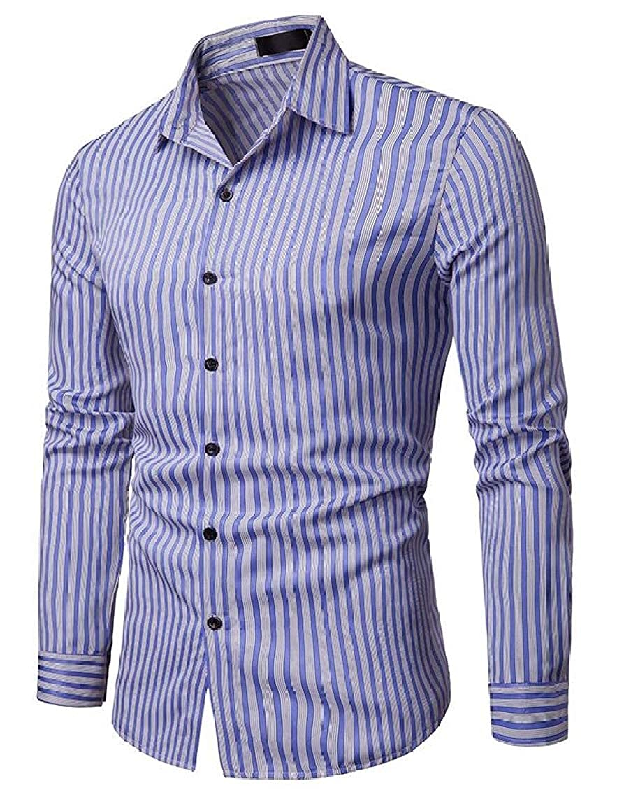 Sweatwater Mens Slim Business Stripe Casual Long-Sleeve Basic Shirt
