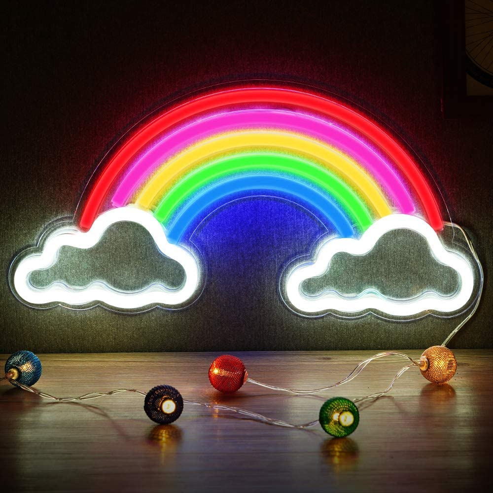 Neon Rainbow Light, Festival LED Wall Decor Light Art Neon Light Sign for Home Decoration,Bedroom, Lounge, Office, Wedding, Christmas, Valentine's Day Party Powered by USB