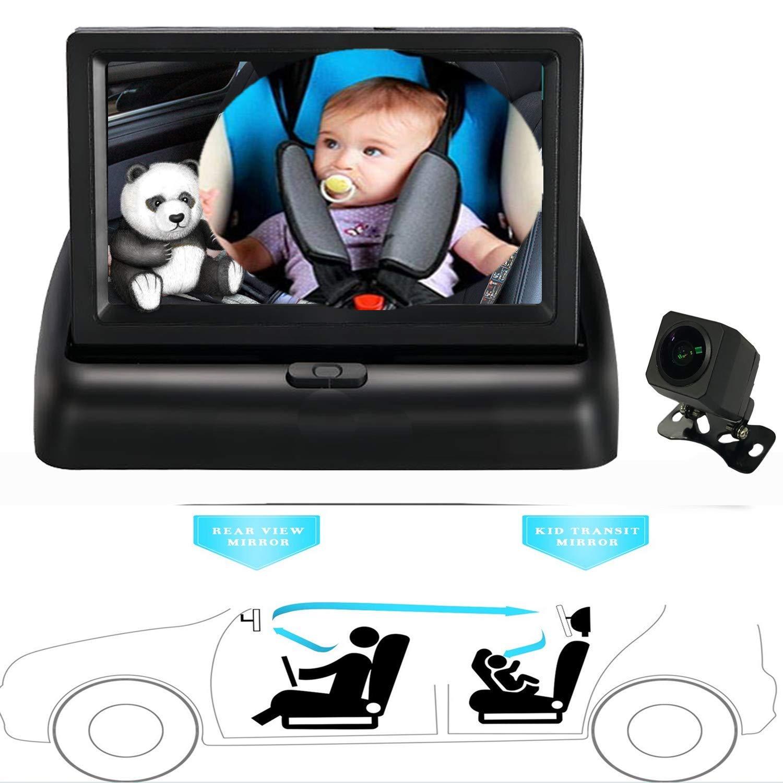 Balight Safety Seat Rear Facing View Mirror Child Observation Shatterproof Plush Animal Mirror 1 pcs