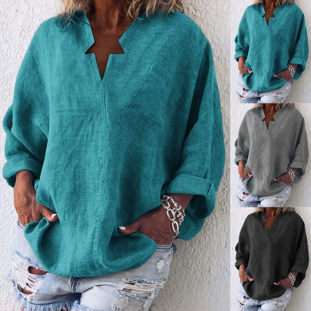 Amazon.com: QIQIU - Camisa de lino con cuello en V para ...