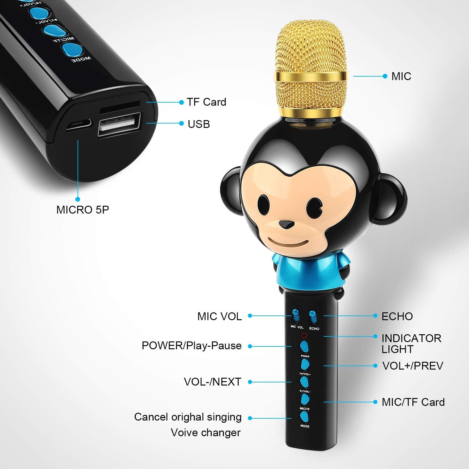 LingHui Kids Microphone Wireless Bluetooth Karaoke Microphone, 3-in-1 Portable Handheld Karaoke Mic Home Party Birthday Speaker Machine for iPhone/Android/iPad/Sony,PC and All Smartphone (Black) by LingHui (Image #2)
