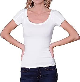 Sweatproof Undershirts for Women, Scoop Neck, White, Micromodal