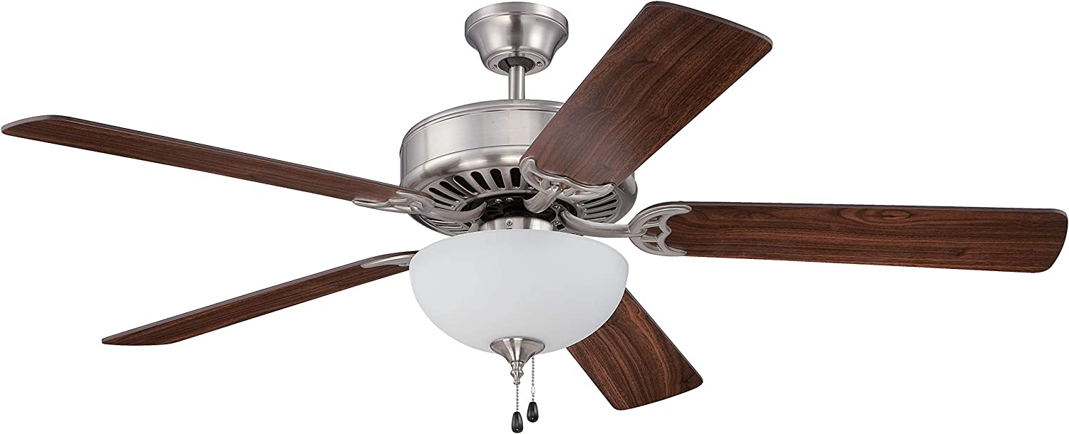 "Craftmade K11102 Pro Builder 201 52"" Ceiling Fan with CFL Lights and Pull Chain, 5 Blades, Brushed Polished Nickel"