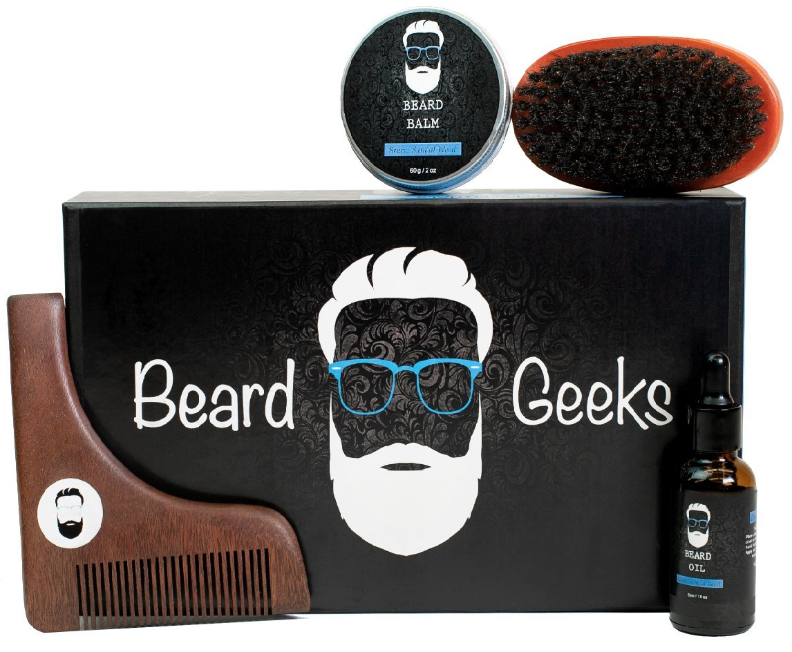 Beard Geeks Grooming Kit - Boar Bristle Brush, Wooden Shaping Comb Tool, Natural Sandalwood Scented Balm and Oil - Professional Styling Maintenance and Care PLUS The Complete Beard Geeks Guide