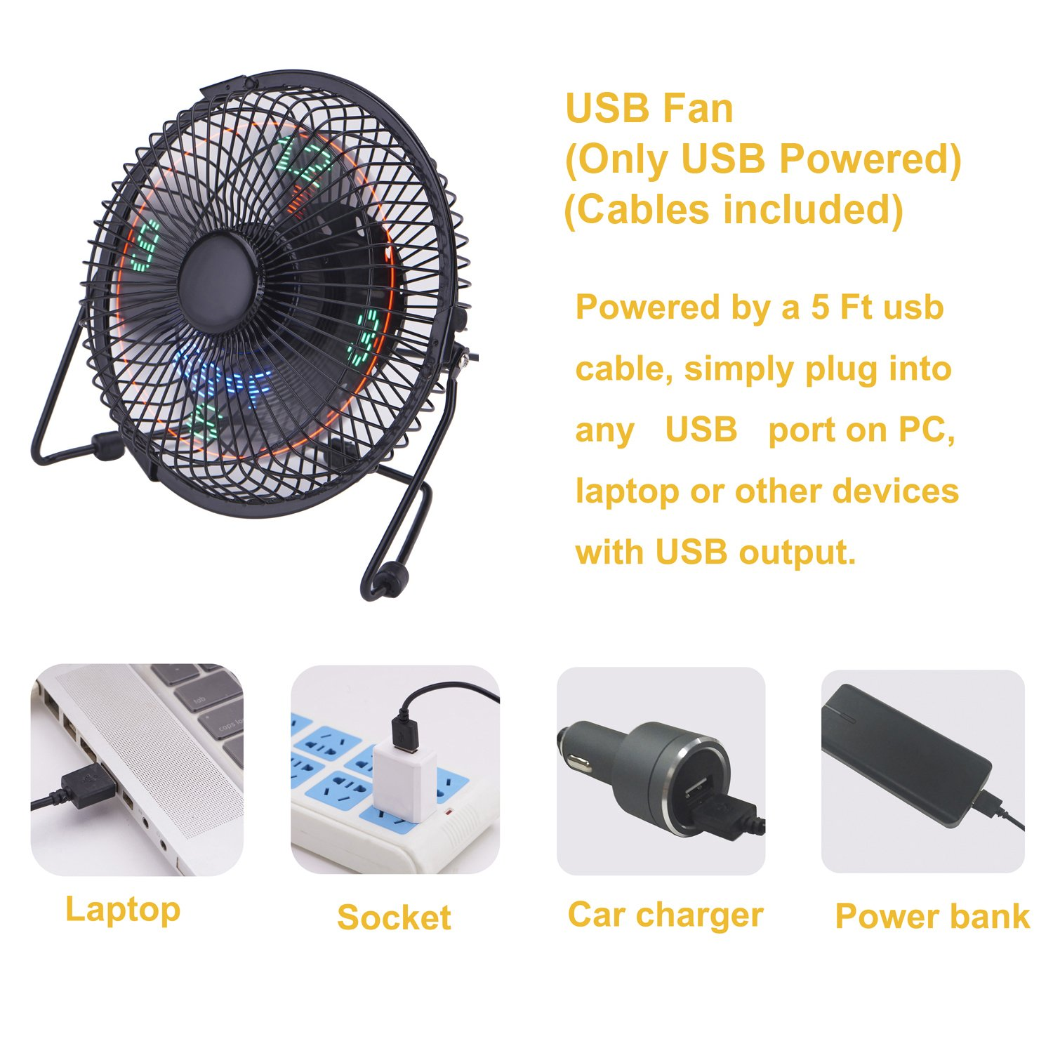 Quiet Table Fan with 5 Feet USB Cable Small Desk Fan with Clock and Temperature Display Lichamp 7 Inch Metal Frame USB Powered Flashing LED Display Electric Little Personal Cooling Fan