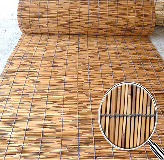 Window Shades Blinds, Reed Fencing, Roll Up Window Blind Sun Shade, Light Filtering UV Protection Roller Shades with Valance for Windows, Kitchen, Doors, Porch, Indoor Office Outdoor