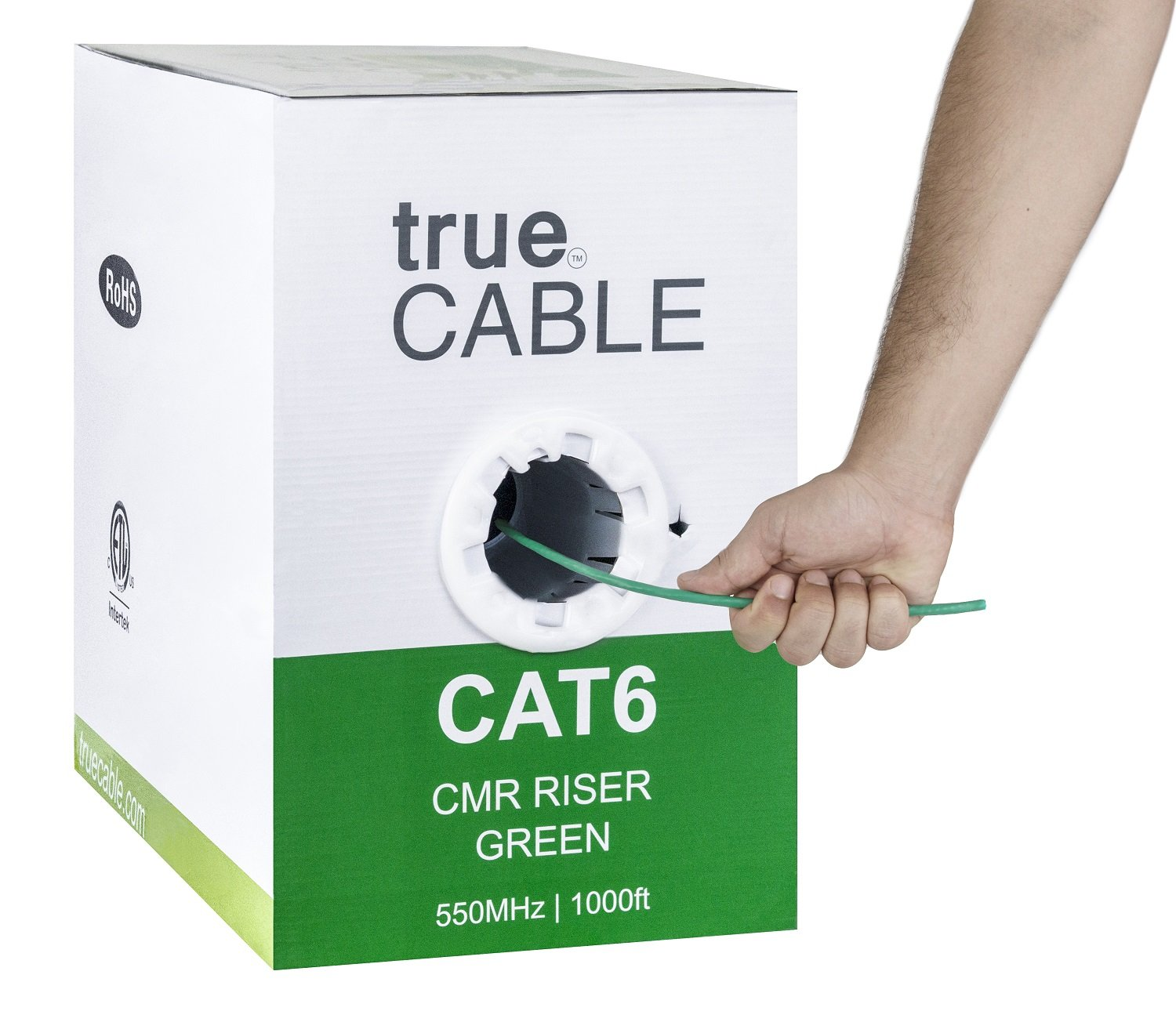 Cat6 Riser (CMR), 1000ft, Green, Solid Bare Copper Bulk Ethernet Cable, 550MHz, ETL Listed, 23AWG 4 Pair, Unshielded Twisted Pair (UTP), trueCABLE