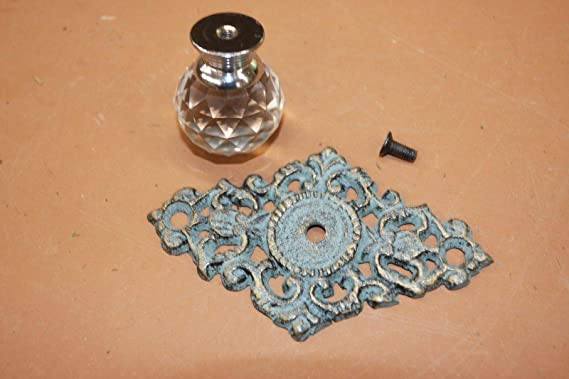 HW-62 Antiqued-look Crystal Knob Pull Bronze-look Cast Iron Back plate Free Shipping Restoration Hardware 3 34