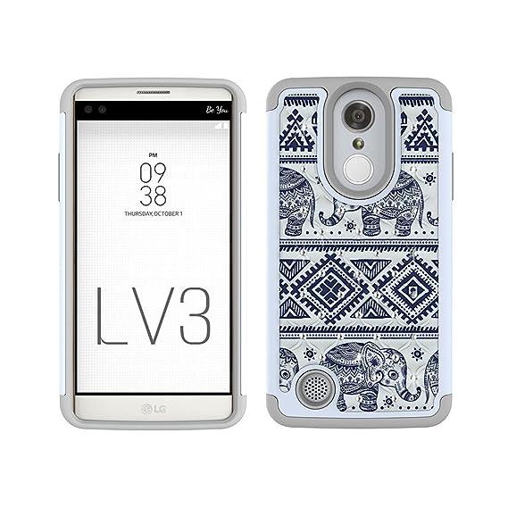 LG Aristo Case, LG Phoenix 3 Case, LG K8 2017 Case, LG Fortune Case, LG LV3  Case, MagicSky [Shock Absorption] Studded Rhinestone Bling Hybrid Dual