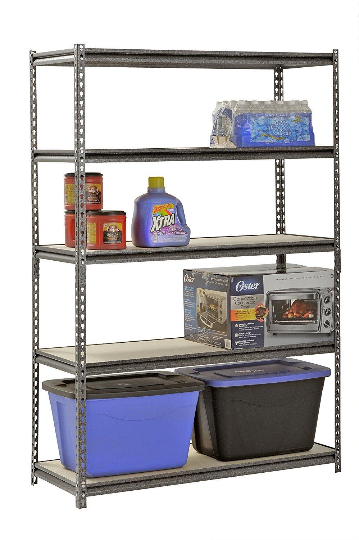Muscle Rack UR481872PB5P-SV Silver Vein Steel Storage Rack, 5 Adjustable Shelves, 4000 lb. Capacity, 72'' Height x 48'' Width x 18'' Depth (3-Pack) with Towel Cleaner by Muscle Rack (Image #2)