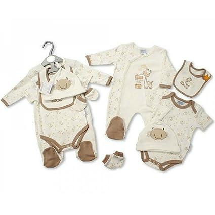 Bebé – Set de regalo todo en uno traje de Body, babero, gorro y manoplas – Tiny recién nacido & 0 – 3 M, jirafa de color crema Talla:0-3 meses