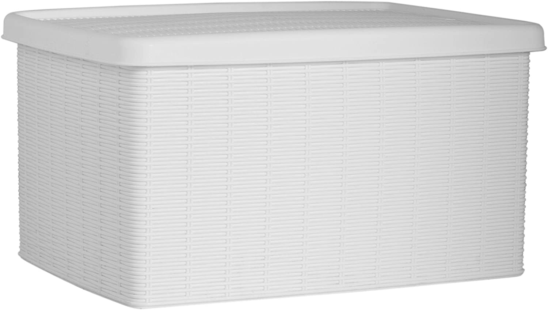 Stefanplast 2075895 Elegancia pl/ástico Blanco Caja de Almacenamiento 29 x 39 x 21 cm