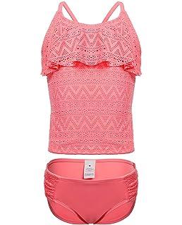 c2732644ce1b5 iDrawl Unicorn Swimming Costumes Tankini Set for Girls Pineapple Striped Kids  Swimwear for Age 6…