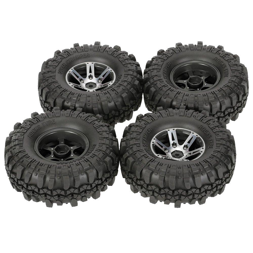 (Black) - Goolsky 4Pcs AUSTAR AX-4020A 1.9 Inch 110mm 1/10 Rock Crawler Tyres with Alloy Beadlock Wheel Rim for D90 SCX10 AXAIL RC4WD TF2 RC Car B06XT1WNYR  ブラック