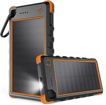 iClever Cargador Solar, 10000mAh Portátil Solar Power Bank Dual Puerto USB Cargador Batería con Luz LED, IP67 Impermeable Solar Cargador para iPhone, ...