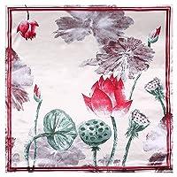 QXU-DIMDIM 90cm90cm Lotus Leaf Lotus Seed Small Fresh Lady Silk Large Square Scarf...