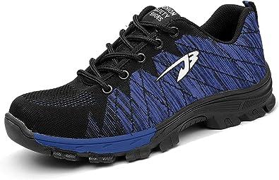 Aizeroth-UK Hombre Mujer Zapatillas de Seguridad con Punta de ...