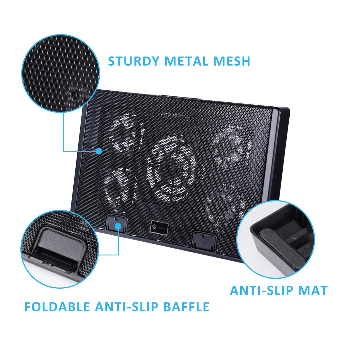 Slopehill Laptop Cooler Notebook Cooling Pad 5 Quiet Blue LED Fans with Powerful Air Flow Dual USB Ports Fits 10-17 Inch Laptop Adjustable Angled Stand