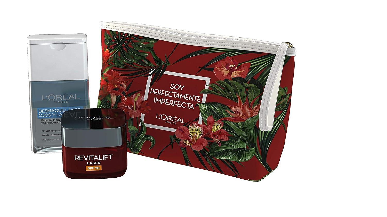 L'Oreal París Dermo Expertise - Set de Regalo con Neceser, Revitalift Laser Crema de Día Anti-arrugas 50 ml y Desmaquillante Ojos y Labios