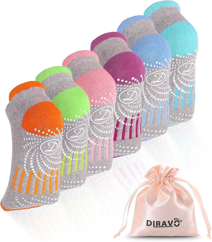 6 Pairs Yoga Socks for Women Non-Slip Grips Anti-Skid Pilates, Barre, Bikram Fitness Socks Size 5-10 (C-6pair(6grey,color)): Clothing