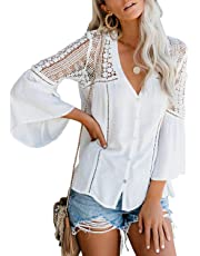 Chase Secret Womens Lace Crochet Bell Sleeve Button Down Shirts V Neck Casual Loose Blouses Tops S-XXL