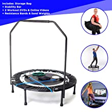 MaXimus PRO Folding Rebounder   Voted #1 Indoor Exercise Mini Trampoline For Adults With Bar   Best Home Gym for Fitness & Lose Weight  FREE Storage Bag, Resistance Bands, ONLINE & DVD Workouts!