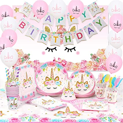 Amazon Com Unicorn Birthday Party Decorations 183 Pcs With Unicorn Photo Background Serves 16 Unicorn Birthday Party Supplies For Girls Includes Disposable Tableware Kit Unicorn Balloons Toys Games