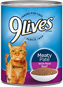 9Lives Meaty Paté With Real Beef Wet Cat Food, 13 Oz Cans (Pack Of 12)