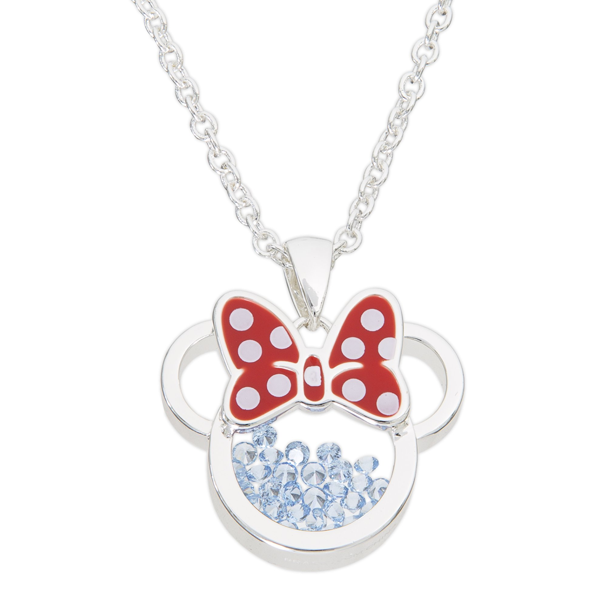 Disney Birthstone Women and Girls Jewelry Minnie Mouse Silver Plated December Light Sapphire Blue Shaker Pendant Necklace, 18+2'' Extender Mickey's 90th Birthday Anniversary