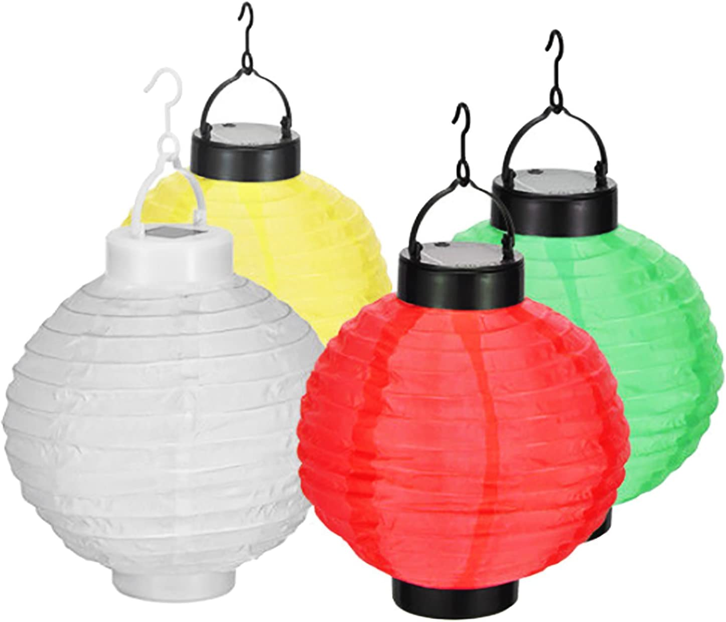 4 piezas. Solar farolillos Set LED Jardín Lámpara China lámpara blanco/verde/amarillo/rojo exterior Leuchten – Lámpara solar exterior lámpara: Amazon.es: Jardín