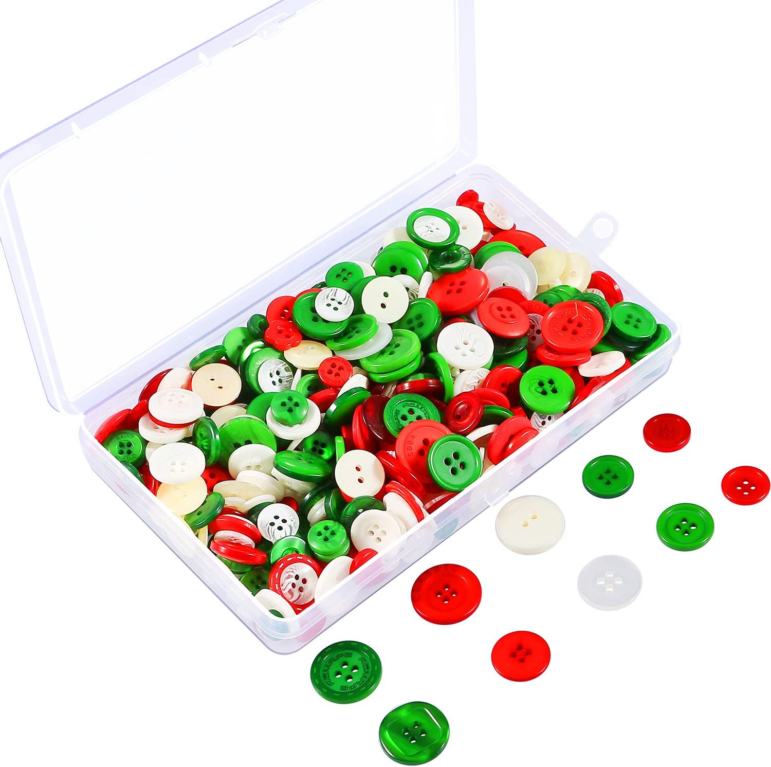 Coobey 200g Christmas Craft Buttons Handmade Sewing Buttons with Plastic Storage Box for DIY Sewing Crafting Assorted Colors and Sizes