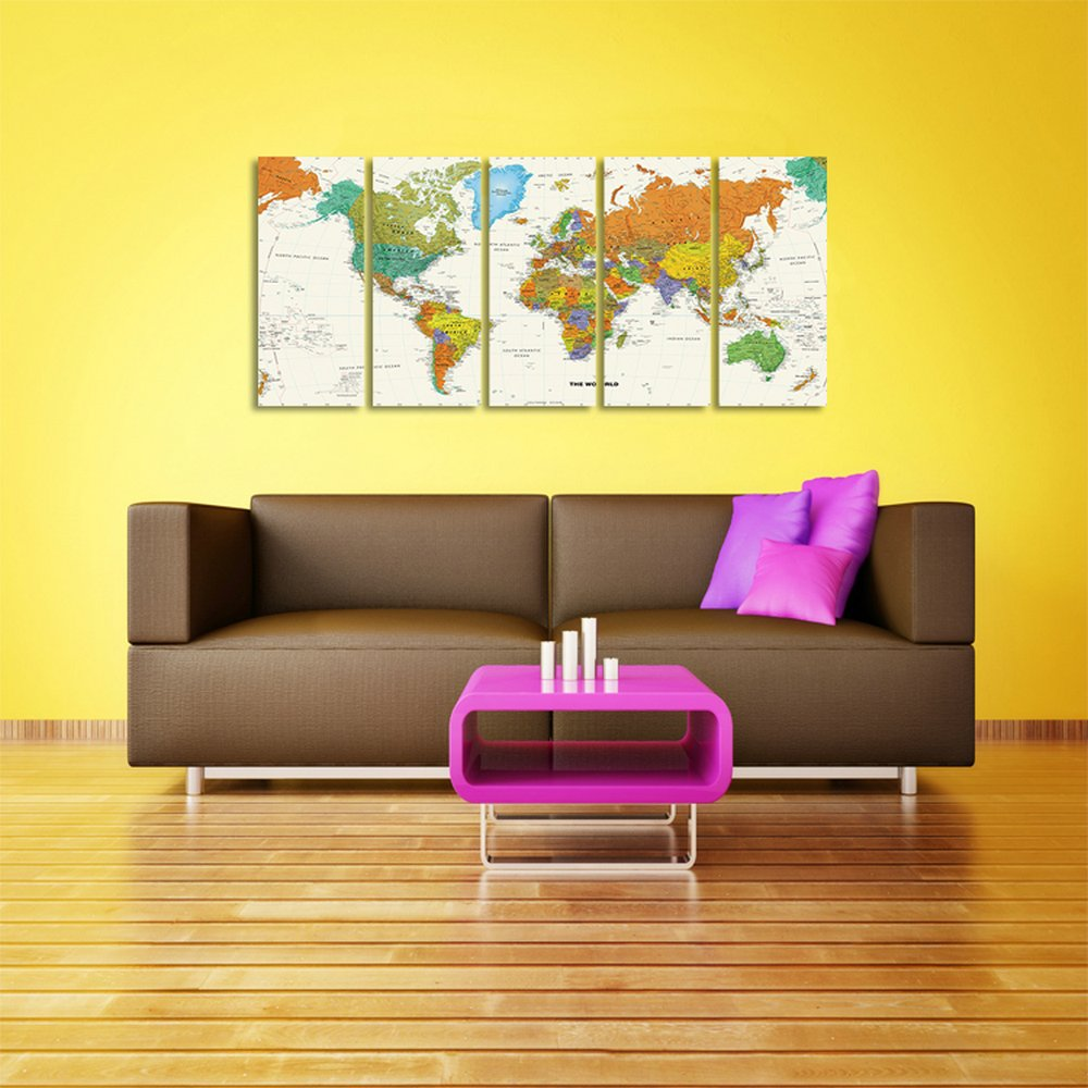 CyiohArt 5パネル アートパネル 「超クリア世界地図」 壁掛け 風景写真の壁の写真を絵画 キャンバス絵画 ホームデコレーション用 (35cm x 80cm x 5、木枠付きの完成品) B077PQ28MH 35cm x 80cm x 5|木枠付きの完成品 木枠付きの完成品 35cm x 80cm x 5