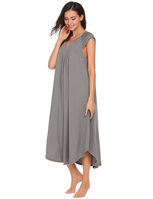 Ekouaer Sleepwear Womens Cotton V Neck Nightdress Sleeveless Long Nightgown with Eye Mask EKK009425