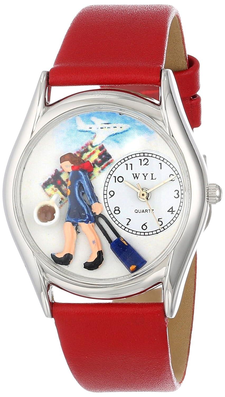Zifferblatt Mehrfarbige Drollige Und 0630004 Rot Silvertone Analog Leder Anzeige Mit S Uhr Lederband Flugbegleiter Uhren Weißem Unisex Quartz mNPvny80wO