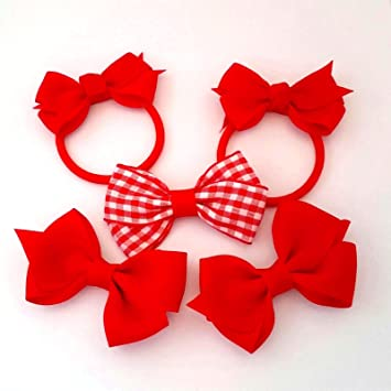 Girls Gingham School Hair Bow light Pink and White hair clip school bow