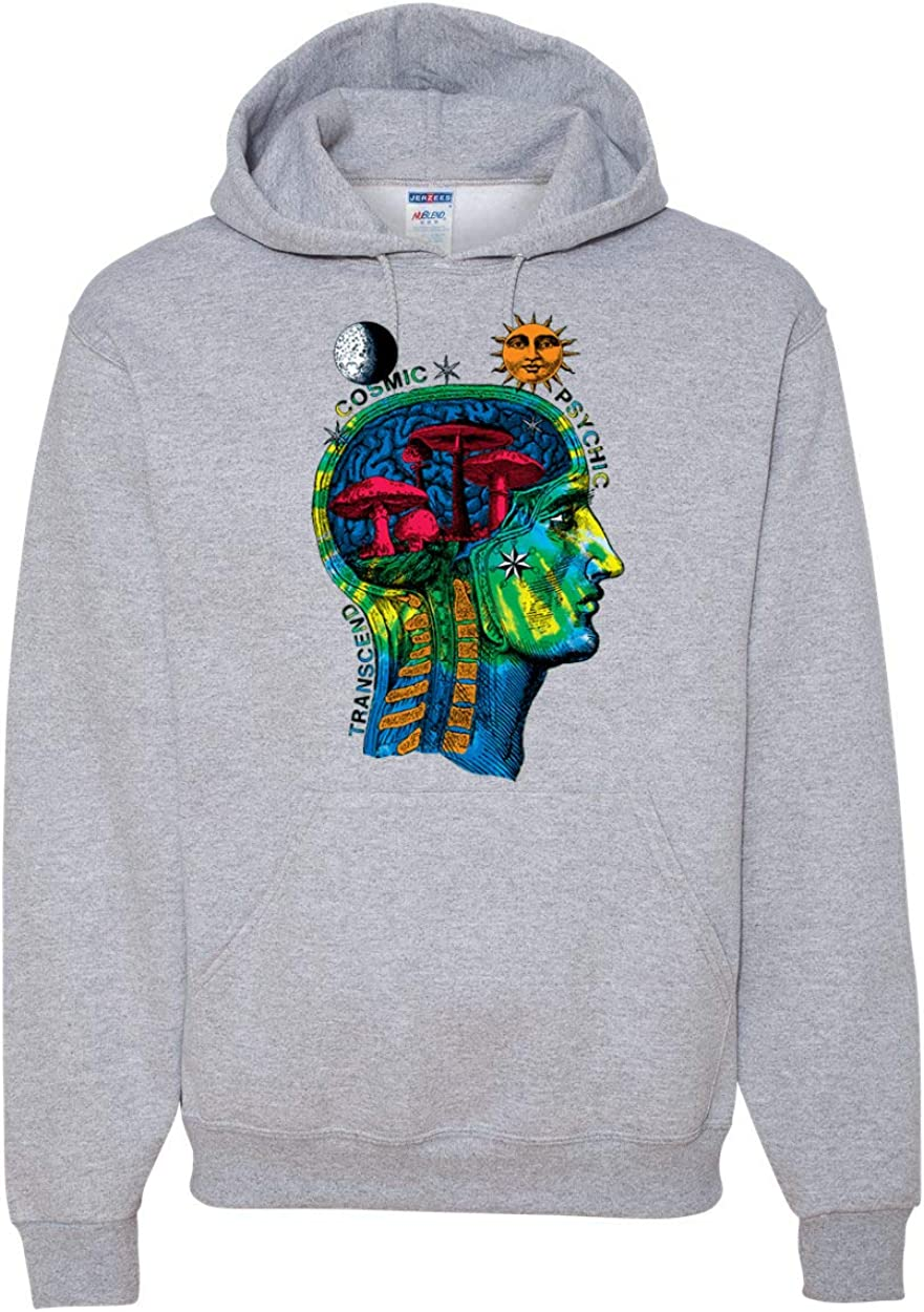Transcend Trippy Cosmic Lunar Space Psychedelic Mushrooms | Mens Fashion Hooded Sweatshirt Graphic Hoodie