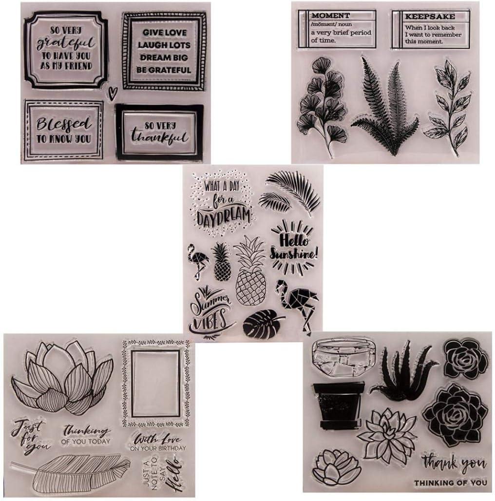 YESZ Rubber Clear Stamps for Cards Making 1# Flower Leaf Letter Plant DIY Stamp Paper Cards Album Scrapbooking Decor Stamper