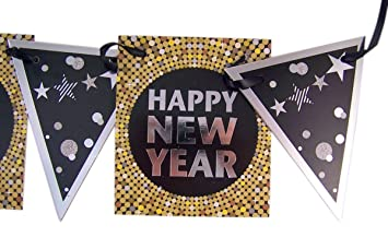 Amazon.com: Happy New Year Black and Gold Party Banner Decoration, 5 ...