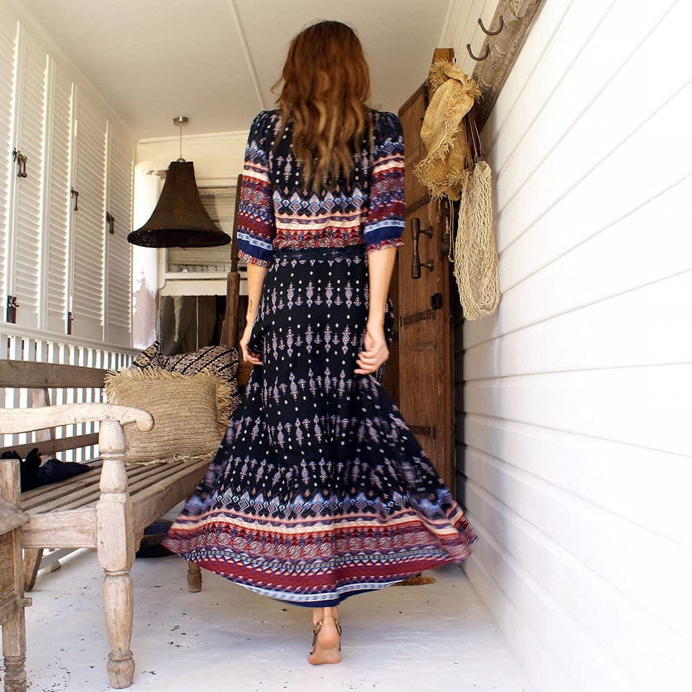 Summer Bohemian Long Dress Women Vintage Printed Button Long Maxi Dresses Split Front Half Sleeve Beach Sundress