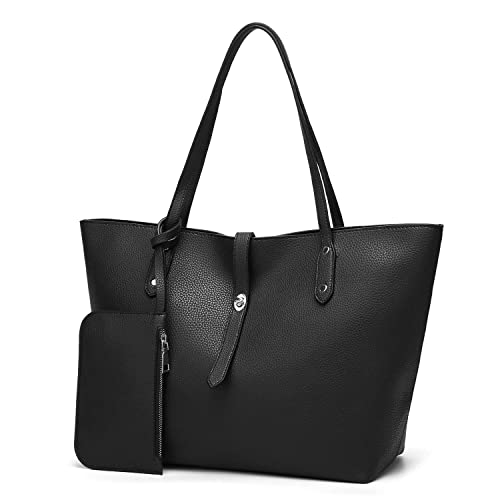 de4b0076c50 Top Handle Handbags Card Holder Set Leather Tote Wallet Purse Shoulder Bag  for Women (Black)  Handbags  Amazon.com