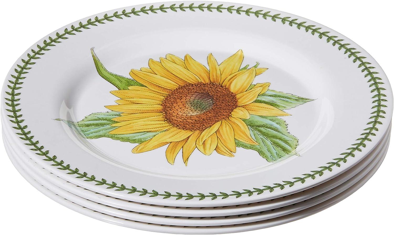 """Portmeirion Botanic Garden Set of 4 Melamine Dinner Plates, 11"""", White"""