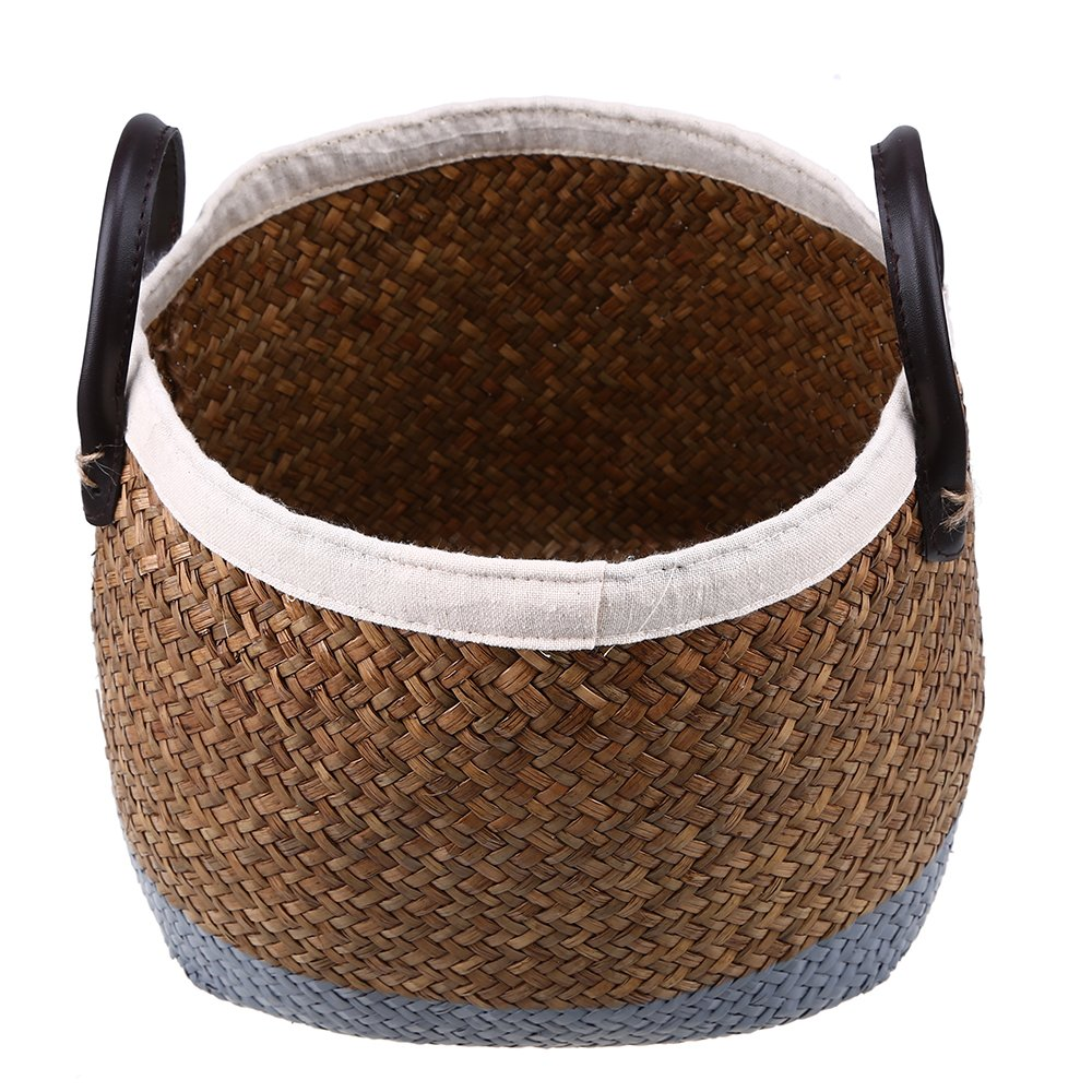 WCIC Seagrass Basket, Handmade Weaving Baskets Storage Bin Plant Pot Laundry Container for Clothes Jewelry Cosmetics Magazine Books Vegetables Fruits Medium Size 24cmX25cm