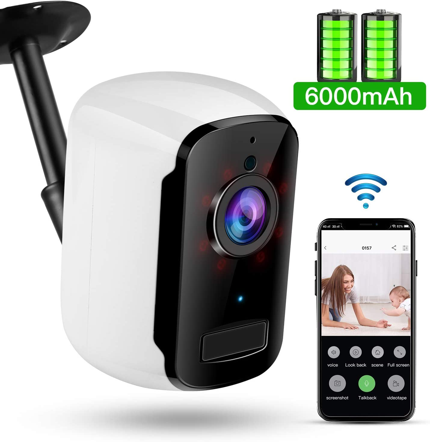 WiFi Battery Powered Camera, TOMLOV 32GB 1080P Wireless Home Security Camera with Night Vision, Two-Way Audio,6000mAh Battery, App Remote, Motion Detection, IP65 Waterproof for Indoor, Outdoor Eaves