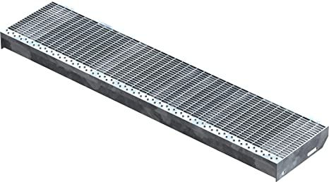 Gitterroststufe XSL Stahlstufe 1200x270 mm 30//10 mm R11 Treppenstufe Stiege