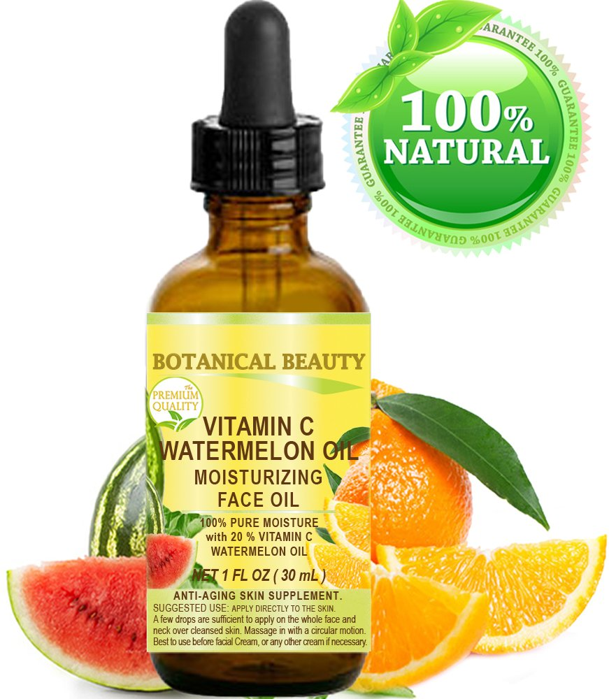 VITAMIN C WATERMELON OIL. Moisturizing Face Oil. Anti-aging, regenerating and nourishing. 20% Vitamin C and 100% Pure Watermelon Seed Oil. 1 Fl. Oz - 30 ml. by Botanical Beauty.