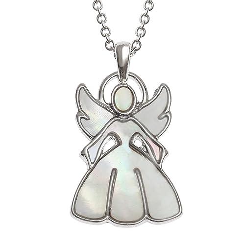 Tide Jewellery - Collar con colgante de ángel de la guarda incrustado con concha de nácar