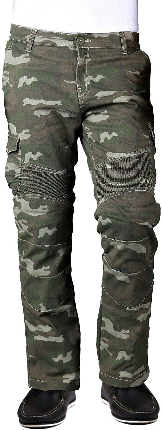 Military Green Camo W30 L30 Mens Motorcycle Cargo Trousers with Dupont/™ Kevlar/® Lining