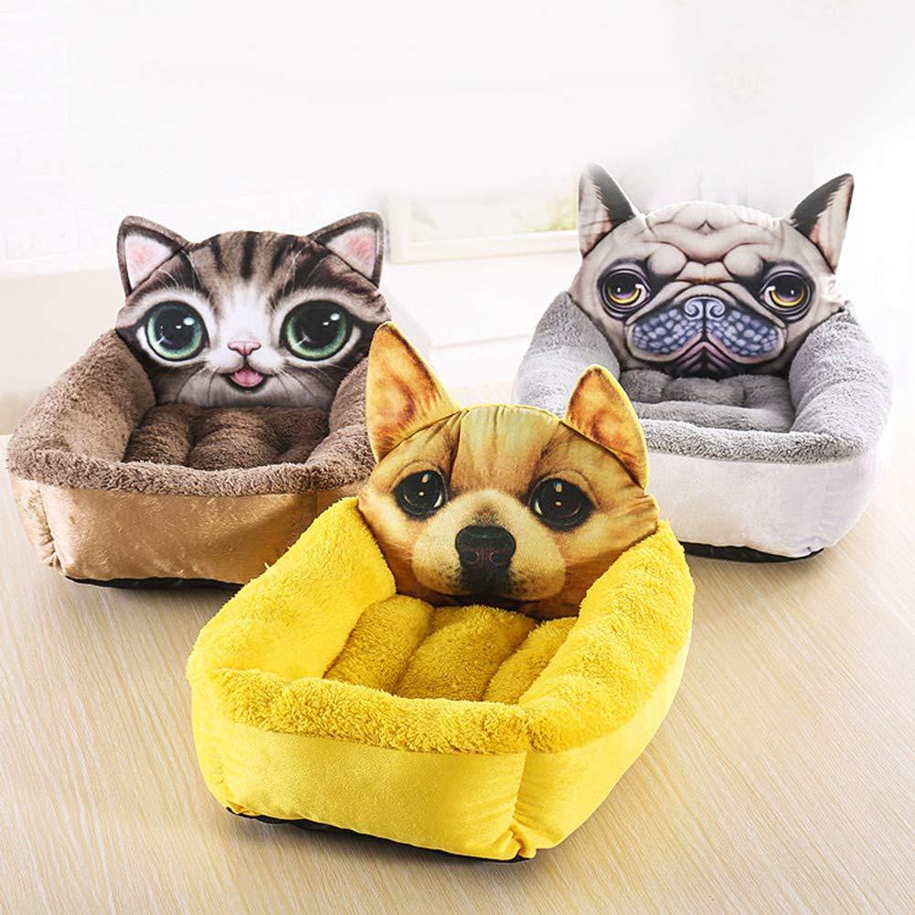 3  L 3  L Brave669 [Pet Supplies]-Cat Panda Head Square 3D Pet Nest Winter Pet Puppy Dog Warm Sleeping Cushion Bed